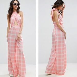 NWT ASOS Tall Check Jumpsuit Cross Front Wide Leg